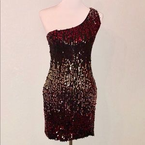 As U Wish Red and Gold Sequin Dress